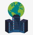 data center hardware process globe vector image