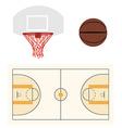 Basketball ball hoop and court vector image