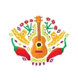 Chili Pepper Guitar And Sombrero Stylized vector image