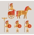 Ancient wariors icons with sword or spear and vector image