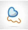 Blue heart balloon flat color icon vector image
