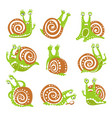 cute snail character set funny mollusk with vector image