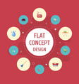 Flat icons besom towel foam and other vector image