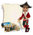 girl pirate blank frame vector image