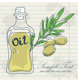 Olive oil in a bottle and a branch of olives vector image
