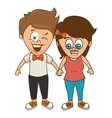 cute couple character sixty style vector image