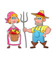 funny couple of farmers vector image