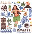 Retro set of Hawaiian icons and symbols vector image