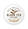 round emblem with hand drawn tea leaf vector image