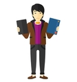 Man choosing between book and tablet computer vector image