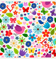 cute spring love seamless pattern vector image