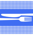 Cutlery silhouettes on blue tablecloth vector image
