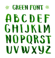 Handmade ink green alphabet vector image