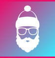 icon of santa claus white silhouette on colorful vector image