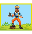 An old lumberjack holding an axe while stepping at vector image