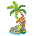 A mermaid near the coconut tree vector image vector image