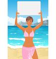 bikini girl with sign vector image vector image