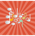 Abstract Music Retro Red Background with Notes vector image