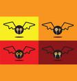 bat flat design halloween icon set vector image