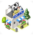 Dairy Products Shop City Building 3D Isometric vector image