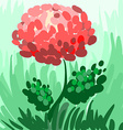 Red stylized peony on green background for your vector image