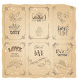 set of vintage frames on old paper background vector image