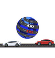 travel by car around the world road high-speed vector image