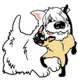 cartoon west terrier and cat vector image