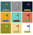set of icons in flat design golf course well done vector image