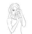 contour pop art of the girl with an old camera vector image