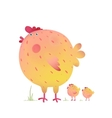 Fun Colorful Mother Chicken Bird and Babies vector image