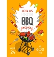 BBQ Party Announcement Flat Poster vector image
