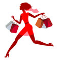 a girl hurries shopping on sale vector image