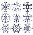 Set dark blue snowflakes vector image