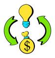 bulb dollar sign and green arrows icon cartoon vector image