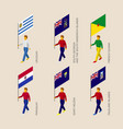 set of 3d people with flags of south america vector image