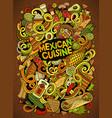 cartoon cute doodles mexican food vector image
