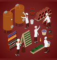 winery factory wine production line isometric vector image