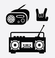 radio and tape music icons vector image