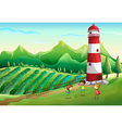 Three cute kids at the farm playing near the tower vector image
