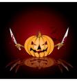 halloween background with killer pumpkin vector image vector image
