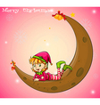 An elf and a moon vector image
