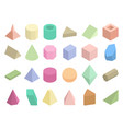 isometric 3d geometric color shapes set vector image