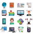 Multilanguage Translator Colorful Flat Icon Set vector image