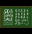 sale 50 percent drawing on blackboard Numbers 0-9 vector image