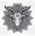 satanic eye in ornate mandala with demon baphomet vector image