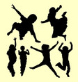 teen people jumping and playing silhouette vector image