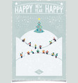 Vintage new year card with playing child vector image