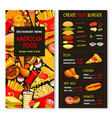menu for fast food meals and desserts vector image