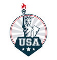 Statue of liberty united states usa lettering vector image
